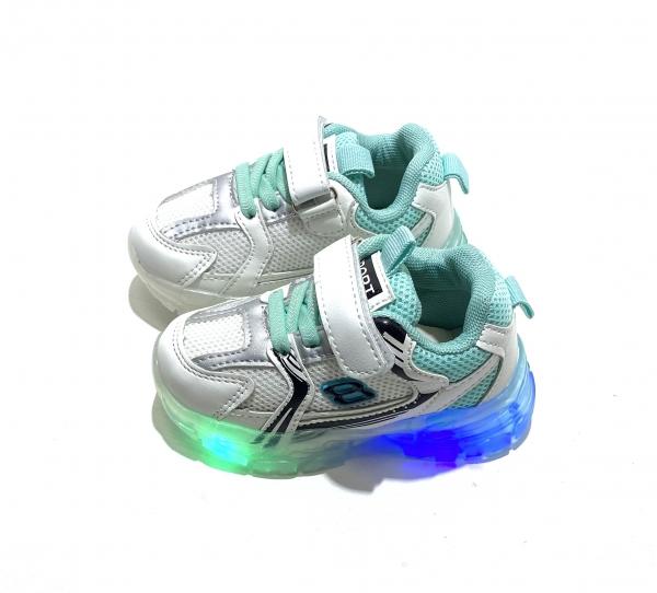 Детские кроссовки с диодами мята