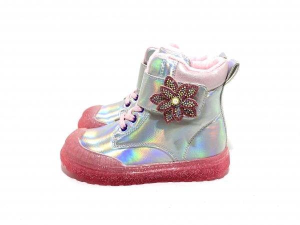 Ботинки детские Цветочек серебро