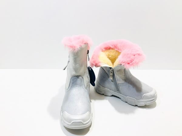 Зимние полуботинки для девочки Серебристые розочки