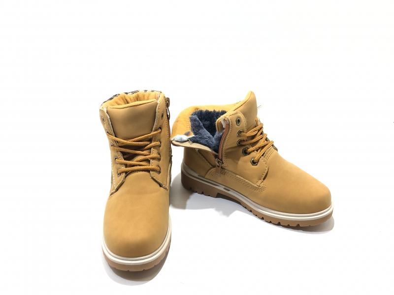 Зимние утепленные ботинки для детей Коричневая клетка