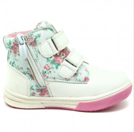 Ботинки для девочек Белые с Цветами