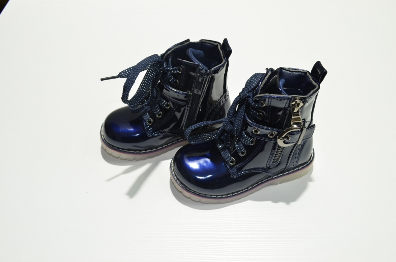 Ботинки для девочки Синий глянец