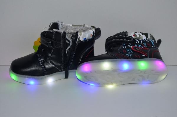 Ботинки со светящейся подошвой Чёрные