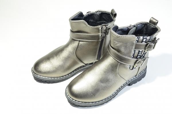 Ботинки для девочек двойная пряжка Бронза