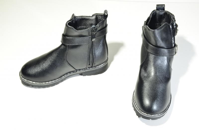 Ботинки для девочек двойная пряжка Чёрные