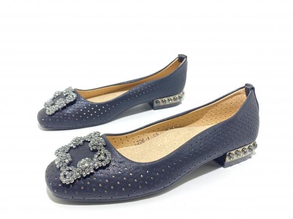 Туфли для девочек Пряжка-стразы чёрные
