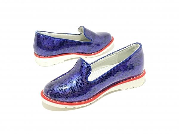 Туфли девичьи синие лакированные