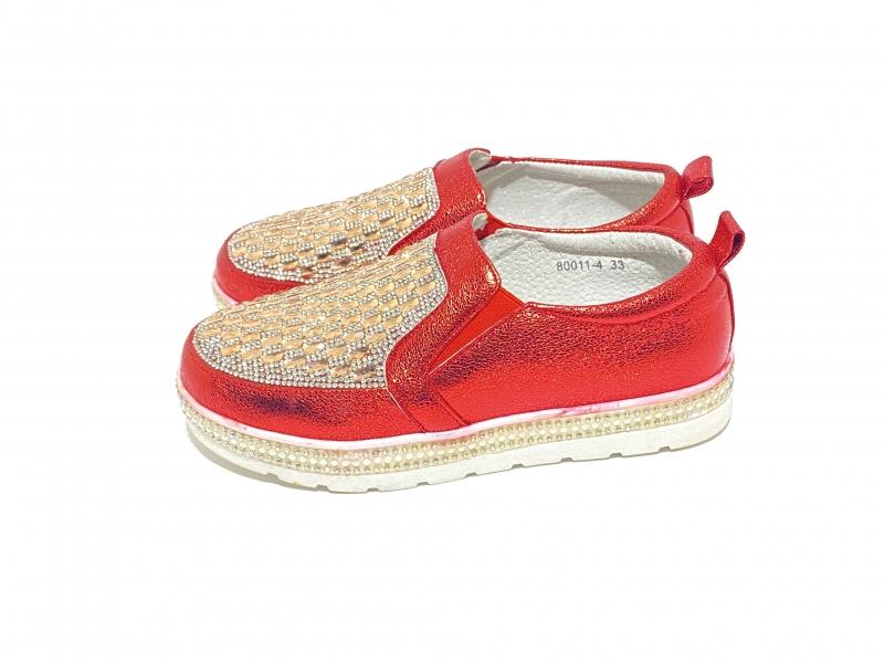 Туфли для девочек красные лак стразы